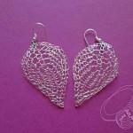 Ohrringe aus Silberdraht gestrickt